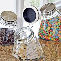 Store food safely in airtight, nontoxic glass jars angled for easy access. Save 20% on the set!