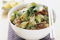 Avocado & Glazed Pork Rice Noodles