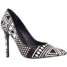 KG by Kurt Geiger Barley Toe Pointed Court Shoes, Black/White Pony