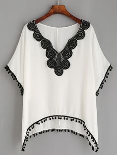To find out about the White Lace Pompom Trim Asymmetrical Blouse at SHEIN, part of our latest Blouses ready to shop online today! Beachwear Fashion, Boho Fashion, Womens Fashion, Blouse Patterns, Clothing Patterns, Sewing Clothes, Crochet Clothes, White Dresses For Women, White Women