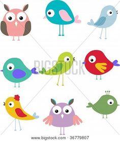 set of different cute bird cartoon share cute things at www.sharecute.com