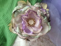 Light Purple Pale Green and Cream Fabric  by ChristyHairCreations