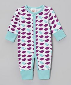 Another great find on #zulily! Purple & White Bird Playsuit - Infant #zulilyfinds