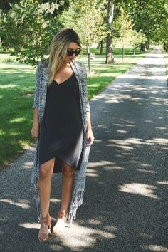 Layer your favorite #LBD with some chic #suede sandals and a fun #knit cardigan for a perfect fall date night.