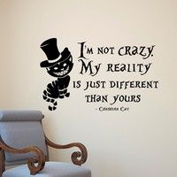 Alice in Wonderland children's room wall stickers cartoon cat proverbs wall stickers Can remove Life