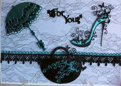 Handbag and Higheel Glam Dies by Tattered Lace Dies. Scrapbook Cards, Scrapbooking, All Kinds Of Everything, Wine Cork Art, Tattered Lace Cards, Spellbinders Cards, Embossed Cards, Die Cut Cards, Create And Craft