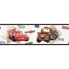 """Room Mates Room Mates Deco Cars Lightning McQueen and Mater 15' x 9"""" Scenic Border Wallpaper Color: White"""
