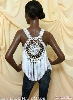 Фотография Gilet Crochet, Crochet Tops, Dressy Tops, Crop Tops, Tank Tops, Crocheting, Dresses, Diy, Women