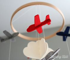 Baby Mobile - Red, Navy and Gray Airplanes - Cloud Mobile - Nursery Mobile - Felt Mobile