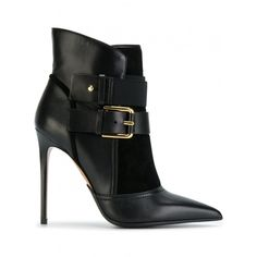 Balmain Anais Leather Ankle Boots ($1,185) ❤ liked on Polyvore featuring shoes, boots, ankle booties, balmain, booties, black, black stiletto booties, black pointed toe booties, black booties and black bootie