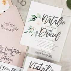 Natalie Wedding Invitation Suite with Watercolor Florals // Vellum // Light Mauve, Blush Pink and Creams (customizable)