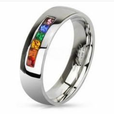 find this pin and more on jewerly rainbow string smooth round top ring - Rainbow Wedding Rings