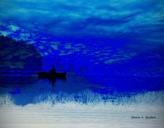 Boat Art Rowboat Silhouette Cobalt Blue Water by GrayWolfGallery