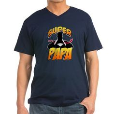 Super Papa Men's V-Neck T-Shirt. Super Papa! Mild-mannered grandfather opens his shirt and tie to reveal his hero identity of Super Papa! Great gift for any grandpa.