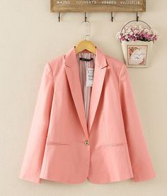 Gender: Women Item Type: Blazers Decoration: None Clothing Length: Regular Pattern Type: Solid Closure Type: Single Button Hooded: No Material: Polyester Collar: Notched Sleeve Length: Full