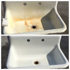 A picture is worth a thousand words. Bar Keepers Friend restores an antique sink.