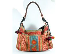 Bohemian shoulder tote bag, Hill tribe Embroidered, Tribal pattern fabric, Vintage look  http://www.etsy.com/shop/TaTonYon
