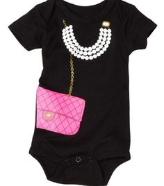 Baby girl Chanel purse and necklace onesie . $14.99, via Etsy.