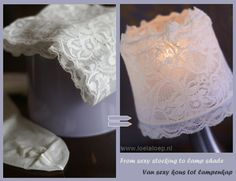 Romantic DIY Lace lampshade, made from tights! Very quick and easy (with english translation) Diy Crafts And Hobbies, Diy And Crafts, Arts And Crafts, Shabby Chic Lamps, Shabby Chic Style, Lace Lampshade, Baby Room Diy, Diy Baby, I Love Lamp