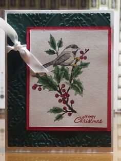 Cute hand stamped Christmas card! Available on Etsy. Stampin Up Beautiful Season.