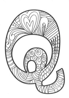 The super original mandaletras learn the alphabet - Educational Images Coloring Letters, Alphabet Coloring Pages, Adult Coloring Pages, Coloring Sheets, Valentine Coloring Pages, Doodle Lettering, Learning The Alphabet, Zentangle Patterns, Letters And Numbers
