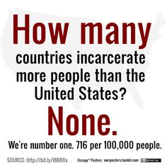 Greedy Privatized Prisons do not work!! Think!!! How many countries incarcerate more people than the United States? None. 716 per 100,000 people