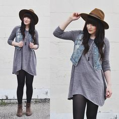 Silver Denim Vest, Balsam And Vine Feather Rope, Goorin Brothers The Goodman, Bdg Long Sleeve Dress