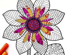 Zinnia PDF Zentangle Coloring Page by DJPenscript on Etsy