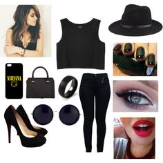 Black by missnashty on Polyvore featuring mode, Monki, Armani Jeans, Jimmy Choo, Victoria Beckham, The Row and rag & bone