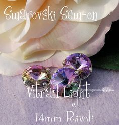 Vitrail Light Rivoli Sew On - Swarovski Crystal 14mm 1122 in a SP 4 Hole Prong Setting - Wire Jewelry Supply - Component