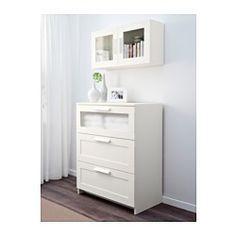 IKEA - BRIMNES, Wandschrank mit Vitrinentür, weiß, , Türen für geschlossene und…