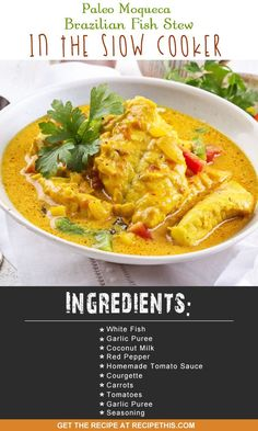 Slow Cooker Recipes | Welcome to my Paleo Moqueca Brazilian Fish Stew In The Slow Cooker recipe from RecipeThis.com