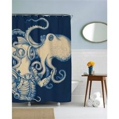 You thought you were hopping into your shower? With this nautical shower curtain, you're really exploring the deep blue with this seasoned steampunk diver. When diver meets octopus, this work of art is born. Nautical Shower Curtains, Octopus Shower Curtains, Colorful Shower Curtain, Cool Shower Curtains, Nautical Bathroom Decor, Bath Decor, Octopus Bathroom, Turquoise Bathroom, Wet Rooms