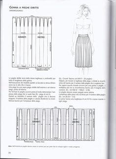 Skirt pattern gonna pieghe diritte