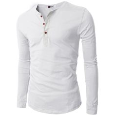 H2H Mens Casual Slim Fit Basic Henley Long Sleeve T-shirt (€18) ❤ liked on Polyvore featuring men's fashion, men's clothing, men's shirts, men's t-shirts, men, mens henley shirts, mens long sleeve shirts, mens longsleeve shirts, mens slim fit shirts and mens slim t shirts