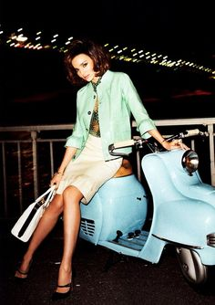 retro 50's fashion + a dusty blue scooter. love.