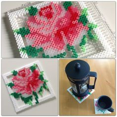 Pärlplattor med rosmönster by Zara. Coasters made with Hama beads following a cross-stitch pattern.