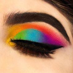 Here is my rainbow eye look. Rainbow Eyes, Rainbow Makeup, Clay Paint, Makeup Looks, Pride, Instagram, Nails, Happy, Eyes