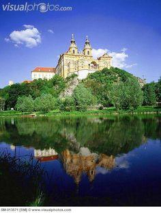 Melk village, view of the monastery on Danube river, Austria