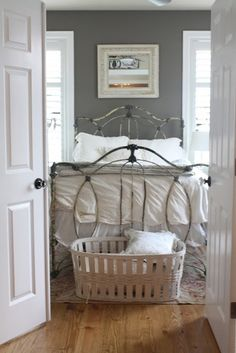 Slate grey paint & a pretty bed!