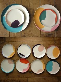 color drip ceramic plates, neutral and neon, modern wedding reception decor insp. color drip ceramic plates, neutral and neon, modern wedding reception decor inspiration Ceramic Plates, Ceramic Pottery, Painted Pottery, Painted Plates, Slab Pottery, Hand Painted Ceramics, Ceramic Painting, Ceramic Art, Pottery Painting Ideas