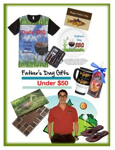 """Father's Day Gifts / Under $50"" by sgolis ❤ liked on Polyvore featuring Oggi, men's fashion, menswear, giftguide, fathersday and zazzle"