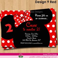 Minnie Mouse Invitation - Red or Pink Birthday Party Printable Invite - You-Print Custom Personalized Digital Photo Card 4x6 or 5x7. $7.50, via Etsy.