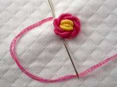LuLu & Annie: Remake of 'Sweetheart' and Bullion Rose Tutorial Embroidery Stitches Tutorial, Hand Embroidery Designs, Embroidery Patterns, Crochet Patterns, Rose Embroidery, Cross Stitch Embroidery, Pinterest Crochet, Rose Tutorial, Brazilian Embroidery