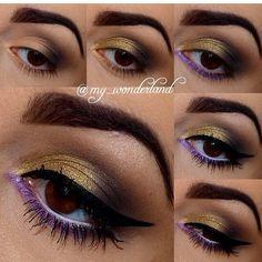 Royal gold and purple eye makeup #tutorial #evatornadoblog