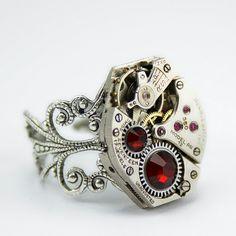accessoires steampunk bague pierre rouge