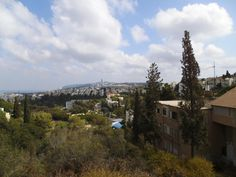 What you see from the corner of Bikurim St, and Sderot HaNasie The tower on the far mountain is Haifa University [planned by Oscar Niemeyer ]  photo mirjam Bruck-Cohen