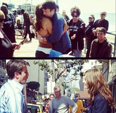 Hugs and laughs <3  Nathan's Birthday, Stana was the One who handled the surprise