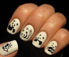yes this is weird. but i love pandas.just in case I'm feeling kinda panda crazy one day Panda Bear Nails, Panda Nail Art, Animal Nail Art, Panda Bears, Panda Panda, Fabulous Nails, Perfect Nails, Love Nails, Pretty Nails