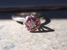 Ruby and Diamond cluster ring 14k white by LuceesTreasureChest